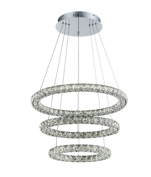 LED Crystal 3 Tier Ring Chandelier 1