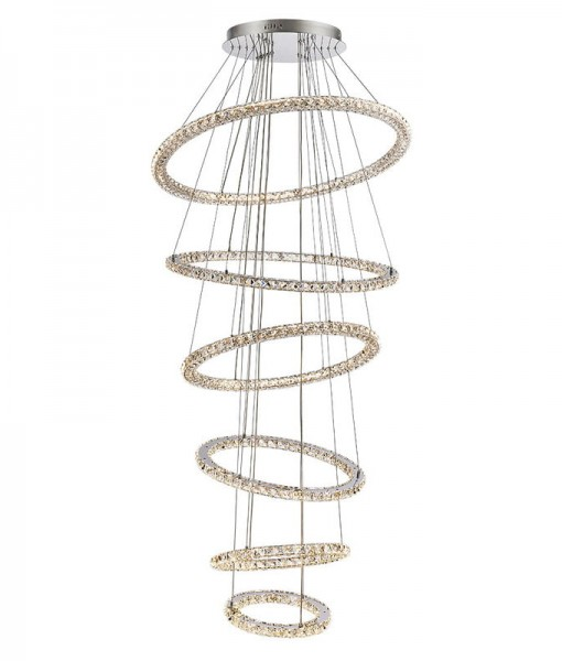 LED Crystal 6 Tier Ring Chandelier 2