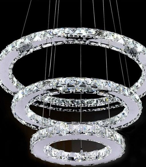 save off f8418 7af1f LED Crystal 3 Tier Ring Chandelier