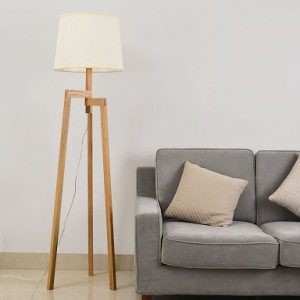 PLFL011-1 --Thor Scandinavian Floor Lamp - Natural Wood Tripod & Ivory Shade