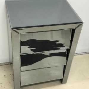 Duval Smoke Mirror Bedside Table