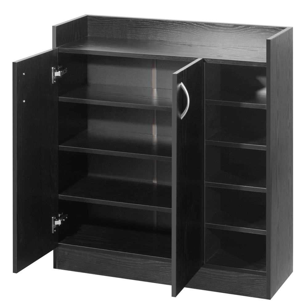2 Doors Shoe Cabinet Storage Cupboard Black