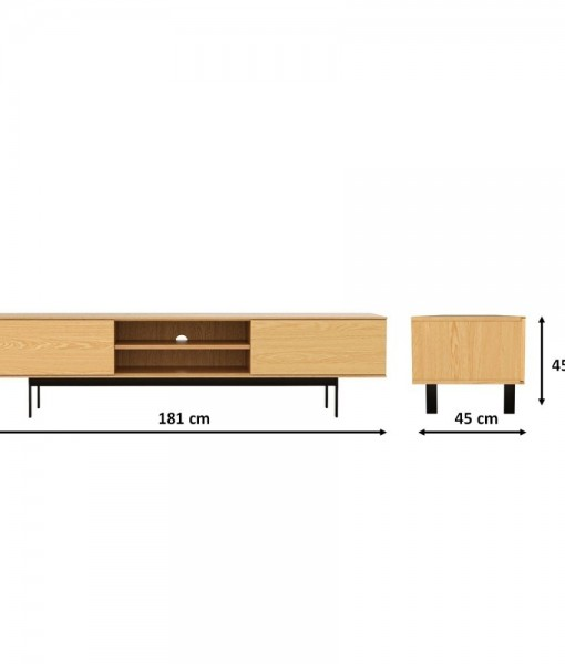 Entertainment-Unit-180-cm-American-Oak-Lowline-TV-Stand-9