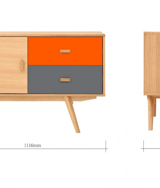 Scandinavian-Sideboard-Buffet-Oak-Orange-Grey-4