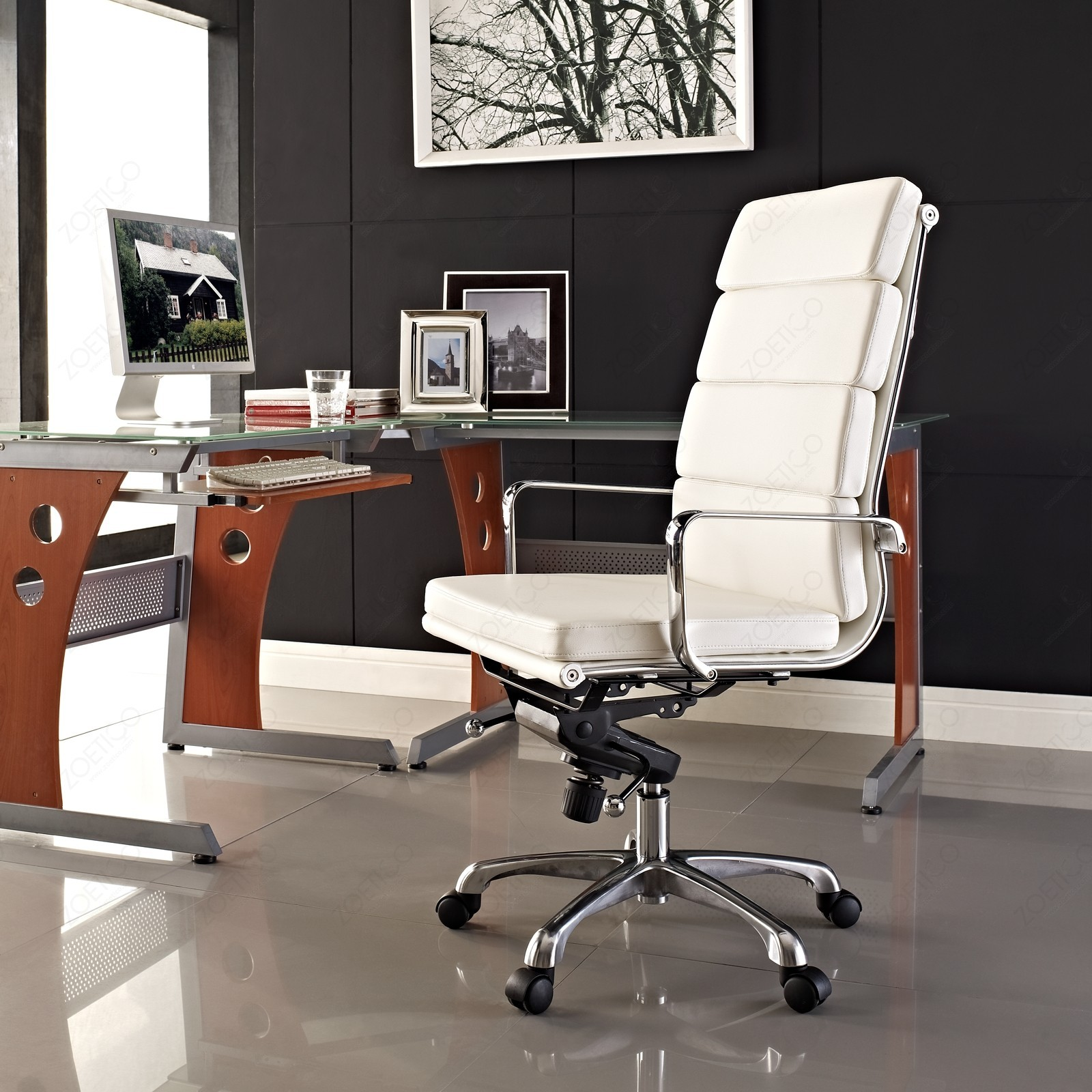 Replica eames high back soft pad executive office chair white
