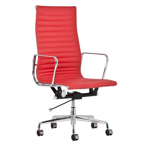 Brilliant Replica Eames High Back Ribbed Leather Management Office Chair Red Ncnpc Chair Design For Home Ncnpcorg