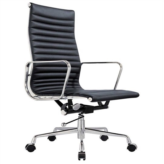 replica eames high back ribbed leather management office chair black