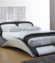 Sleek bed frame black white