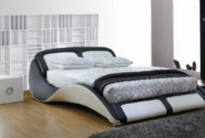 Sleek bed frame black white 500