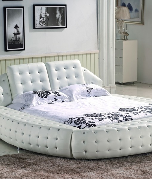 Asher bed frame cow leather white