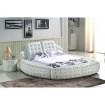 Asher bed frame cow leather white queen