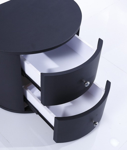 Cresent Side Table Black open