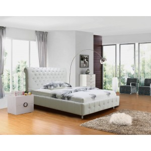Valent pu leather bed white sml