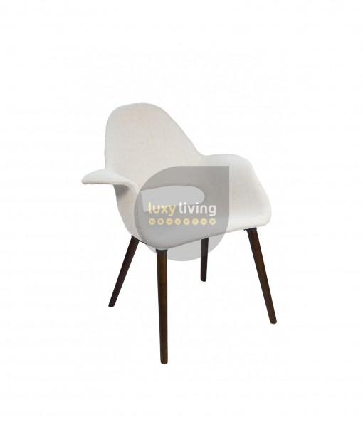 Replica Eames / Saarinen Organic Chair - Ivory Fabric & Walnut Legs