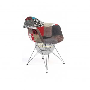 Replica Eames DAR Eiffel Chair - Multi-Coloured Patches & Chrome Legs (Version 2)