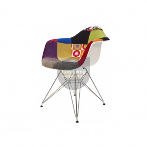 Replica Eames DAR Eiffel Chair - Multi-Coloured Patches & Chrome Legs (Version 1)