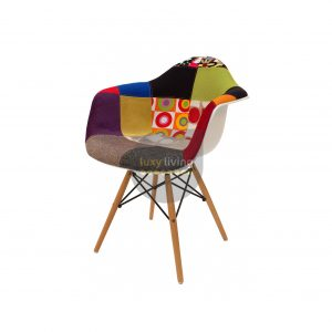 Replica Eames DAW Eiffel Chair - Multi-Coloured Patches & Natural Wood Legs (Version 1)