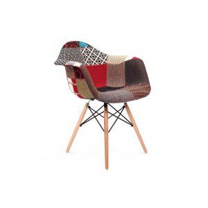 Replica Eames DAW Eiffel Chair - Multi-Coloured Patches & Natural Wood Legs (Version 2)