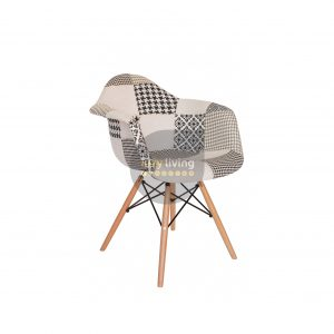 Replica Eames DAW Eiffel Chair - Multi-Coloured Patches & Natural Wood Legs (Version 3)