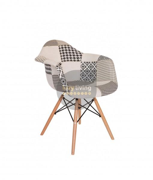 Replica Eames DAW Eiffel Chair - Multi-Coloured Patches & Natural Wood Legs (Version 3)