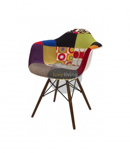 Replica Eames DAW Eiffel Chair - Multi-Coloured Patches & Walnut Legs (Version 1)