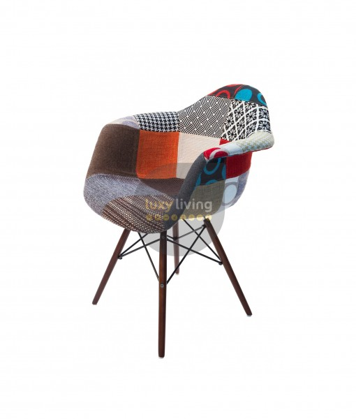 Replica Eames DAW Eiffel Chair - Multi-Coloured Patches & Natural Wood Legs (V2.0)