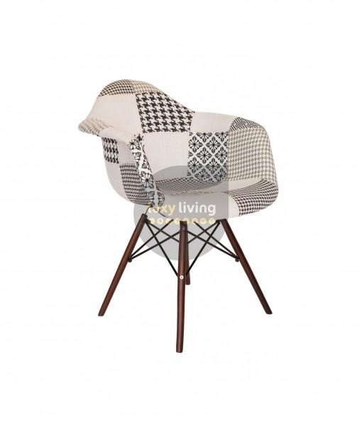 Replica Eames DAW Eiffel Chair - Multi-Coloured Patches & Natural Wood Legs (V3.0)