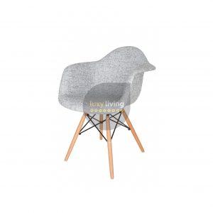 Replica Eames DAW Eiffel Chair - Textured Light Grey Fabric & Natural Legs