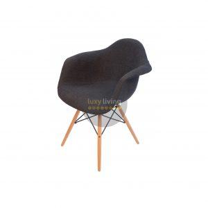 Replica Eames DAW Eiffel Chair – Grey / Charcoal Fabric & Natural Legs