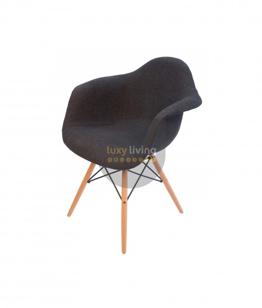 Replica Eames DAW Eiffel Chair – Grey / Charcoal Fabric & Natural Legs