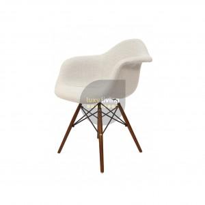 Replica Eames DAW Eiffel Chair – Ivory Fabric & Walnut Legs