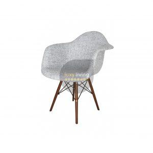 Replica Eames DAW Eiffel Chair – Textured Light Grey Fabric & Walnut Legs