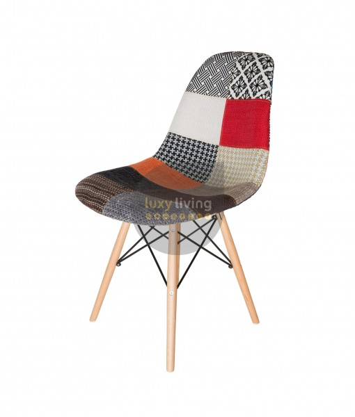 Replica Eames DSW Eiffel Chair - Multi-Coloured Patches & Natural Wood Legs