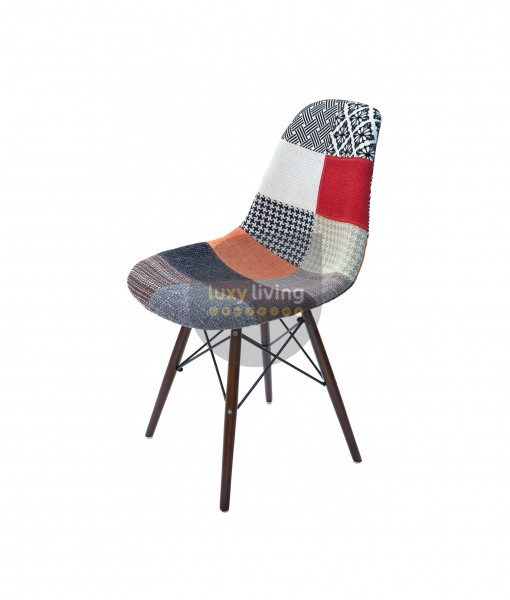 Replica Eames DSW Eiffel Chair - Multi-Coloured Patches & Walnut Legs