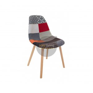 Replica Eames DSW Hal Inspired Chair - Multi-Coloured Patches & Natural Beech Legs