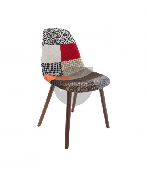 Replica Eames DSW Hal Inspired Chair - Multi-Coloured Patches & Walnut Legs