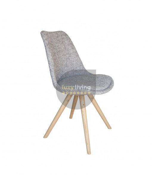 Replica Eero Saarinen Tulip Sticks Chair - Textured Light Grey Fabric & Natural Legs