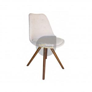 Replica Eero Saarinen Tulip Sticks Chair - Ivory Fabric & Walnut Legs