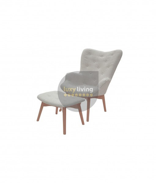 Grant Featherson Ivory chair and ottoman