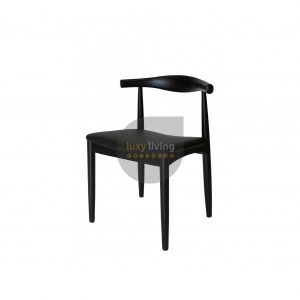 Set of 2 Replica Hans Wegner Elbow Chair - Black PU Leather & Black Frame