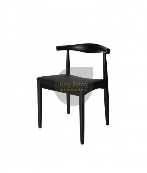 Set of 2 Replica Hans Wegner Elbow Chair - Black PU Leather & Black Frame