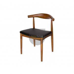 Set of 2 Replica Hans Wegner Elbow Chair - Black PU Leather & Walnut Frame