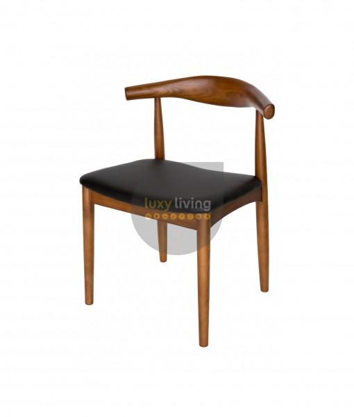 Set of 2 Replica Hans Wegner Elbow Chair - Black PU Leather & Walnut Frame