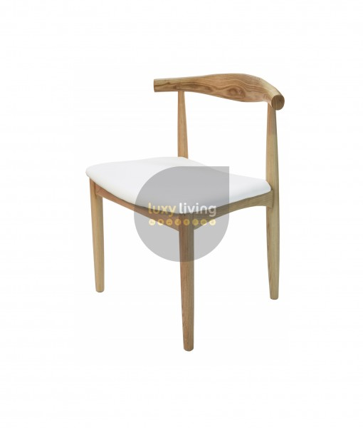 Replica Hans Wegner Elbow Chair - White PU Leather & Natural Frame