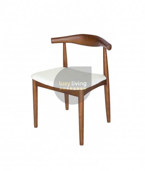 Set of 2 Replica Hans Wegner Elbow Chair - White PU Leather & Walnut Frame