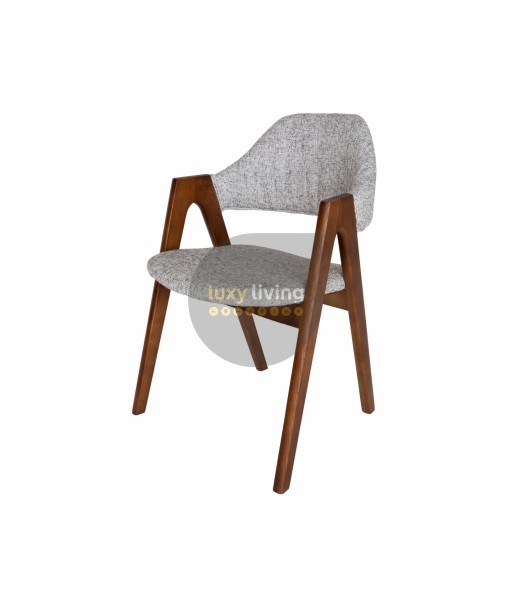 Replica Kai Kristiansen Compass Chair - Textured Light Grey & Walnut