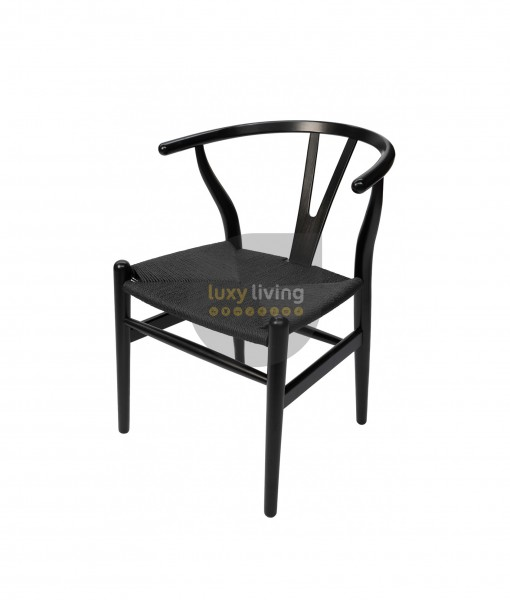 Replica Hans Wegner Wishbone Chair - Black Frame & Black Rattan