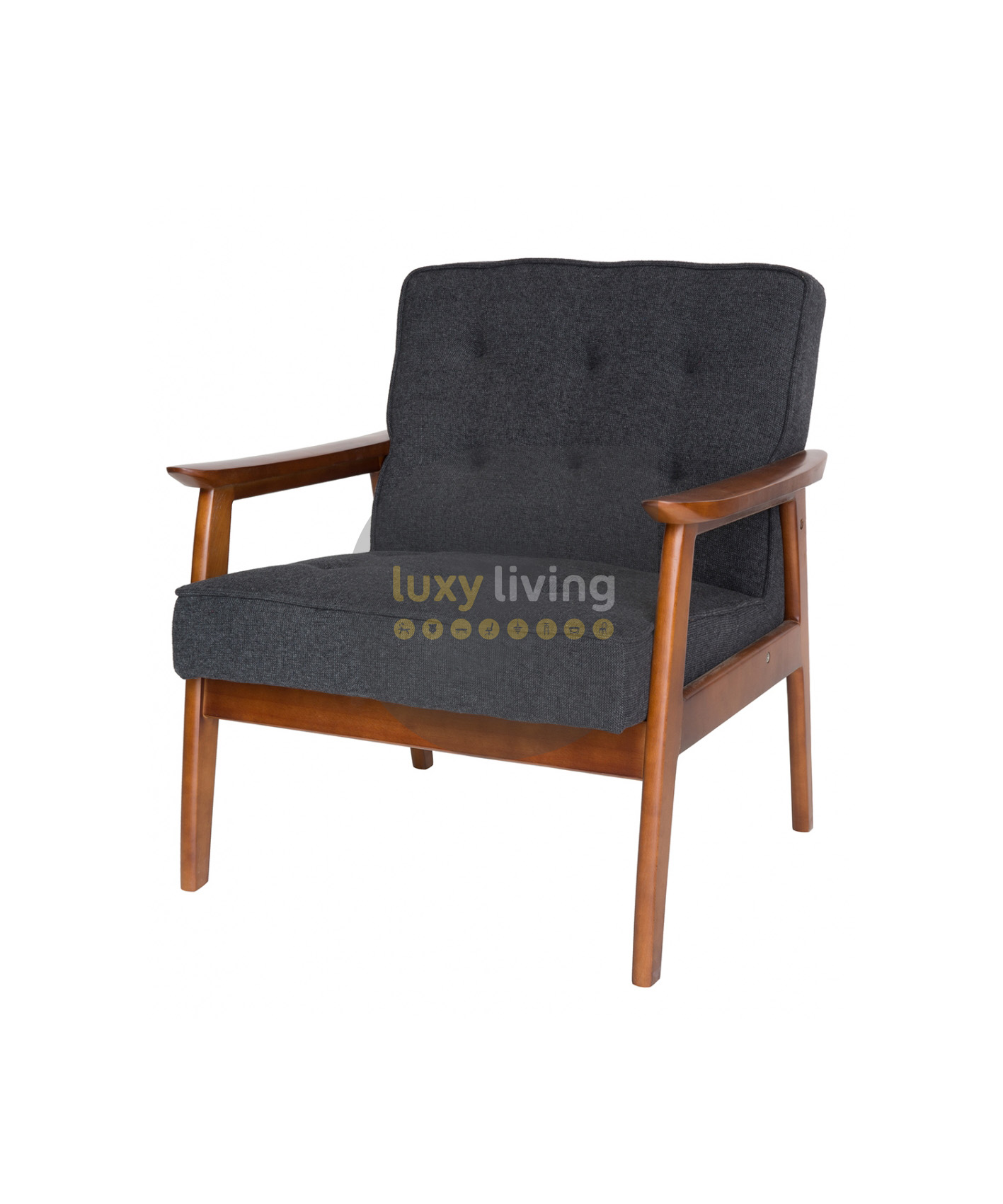 replica hans wegner plank arm chair grey charcoal fabric