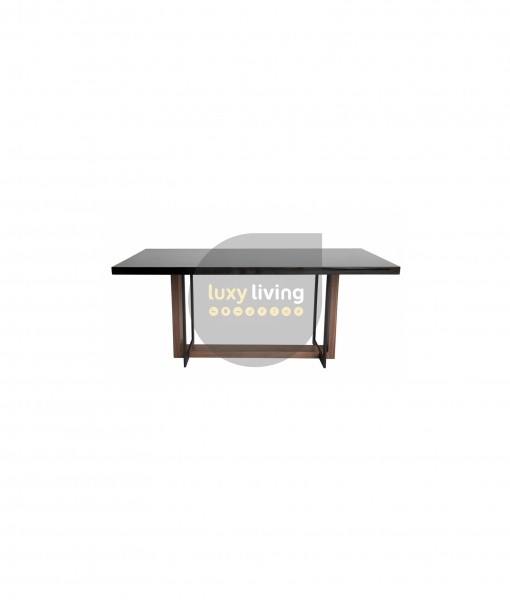 Kara Dining Table - Matte Black Base, Walnut & Gloss Black Top - 180cm