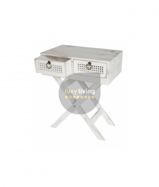 Florent French Chic Bedside / Side Table - Washed White
